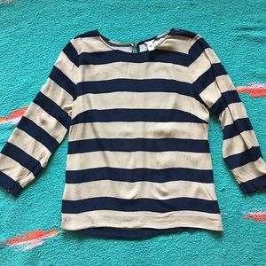 J. Crew blouse navy and tan striped 10 3/4 sleeve